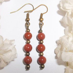 Boho Earrings Bronze Rust Orange Sandstone 6534